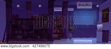 Night Bookstore Interior, Empty Book Shop Room With Fantasy Or Biography Literature Shelves, Ladder,