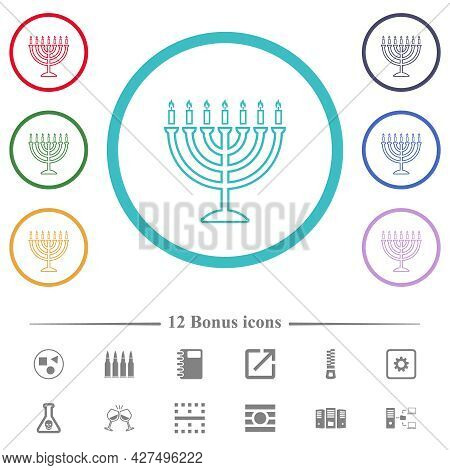Menorah With Burning Candles Flat Color Icons In Circle Shape Outlines. 12 Bonus Icons Included.