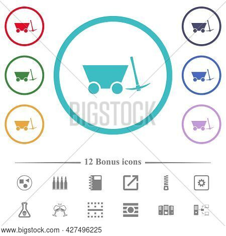 Mine Cart And Pickaxe Flat Color Icons In Circle Shape Outlines. 12 Bonus Icons Included.
