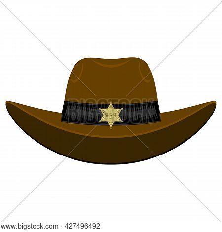 Old West Sheriff Hat Isolated On White Background