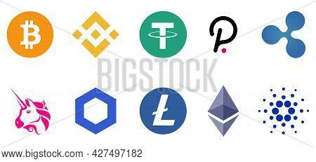 Set Of Cryptocurrency Icon. Bitcoin, Ethereum, Binance, Tether, Xrp, Polkadot Cardano Uniswap Liteco