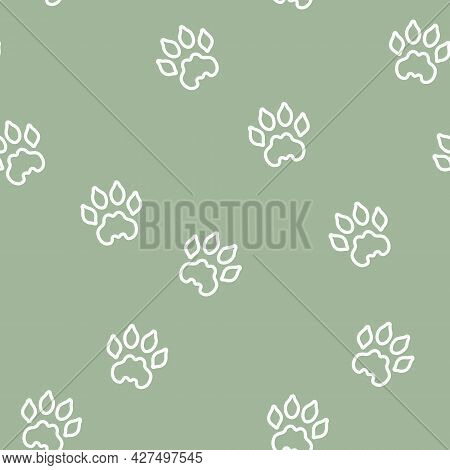 Vector White Lion Paw Line Art On Sage Green Seamless Pattern Background. Perfect For Fabric, Scrapb