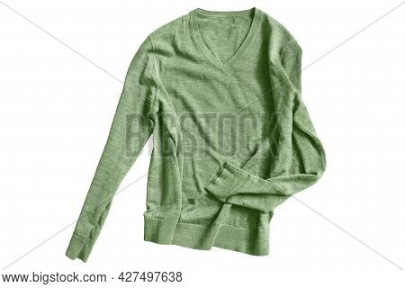 Casual Basic Green Pullover Isolated On White Background