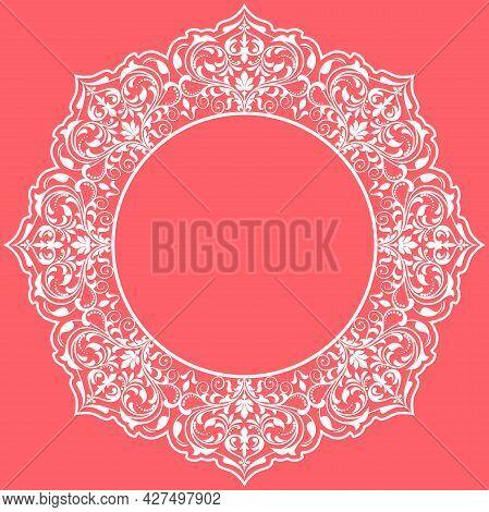 Decorative Frame Elegant Element For Design In Eastern Style, Place For Text. Floral Pink Border. La