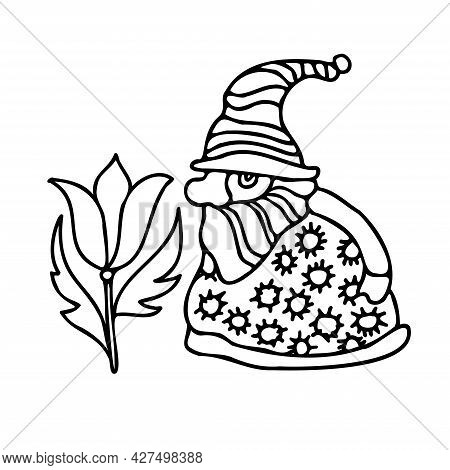Isolated Vector Illustration Design Black And White Line Art Gnome With A Decorative Flower