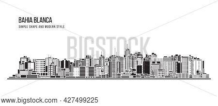 Cityscape Building Abstract Simple Shape And Modern Style Art Vector Design - Bahia Blanca City