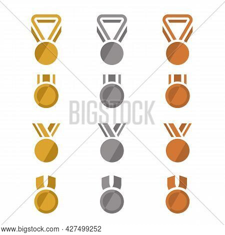 Gold, Silver And Bronze Award Medals With Minimal Flat Icon Style Vector Set Design