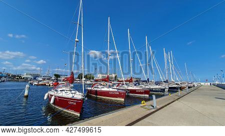 Gdynia, Poland - July 18, 2021: Motorboats And Boats In A New Modern Marina In Gdynia, Poland.