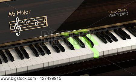 Close Up Grand Piano With Piano Chord Ab Major, Piano Keyboard