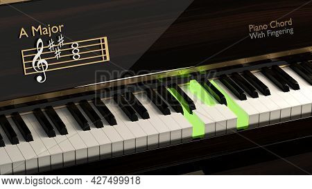 Grand Piano With A Major Chord, Classical Instrument