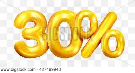 30 Percent Off. Discount Creative Composition Of Golden Balloons. 3d Mega Sale Or Thirty Percent Bon