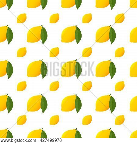 Citrus Lemon And Green Leaf Pattern Isolated On White. Yellow Seamless Pattern With Ripe Lemon.