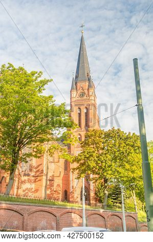 Gorlitz, Germany - June 2, 2021: Tower Of Cathedral Of St. James Is The Cathedral Of The Silesian An