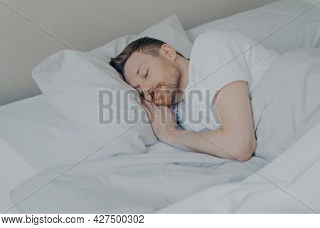 Handsome Young Man In Casual Domestic Clothes With Beard Comfortably Lying And Sleeping In Cozy Bed