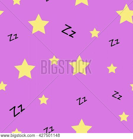 Cozy Trendy Seamless Pattern With Stars And Sleepy Sign On Purple Background. Design For Pajamas, Cl