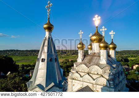 Aerial View Of The Domes And Crosses Of A 17th Century Orthodox Church In A Russian Village. Spas-za