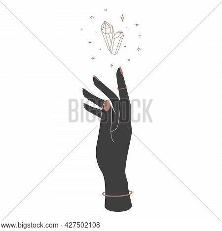 Mystical Magic Crystal Over Woman Hand Silhouette. Spiritual Elegant Symbol For Branding Name Logo.