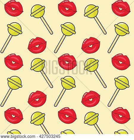 Seamless Pattern Of Sexy Lips And Lollipops Chupa-chups.