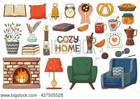 A Set Of Elements On The Theme Of Autumn, Cozy Home, Hugge. A Large Design Collection Of Colored Doo