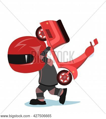 Scooter Driver. Biker Cartoon. Child Illustration. Goes To Service. In A Sports Uniform And A Red He