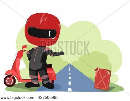 Scooter Driver. Biker Cartoon. Child Illustration. Asks For Fuel. In A Sports Uniform And A Red Helm