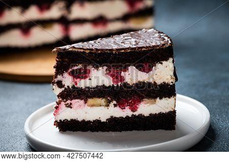 Chocolate Cake With Raspberry On Plate. Slice Of Cake. Raspberry Cake. Wedding Dessert. Black Forest