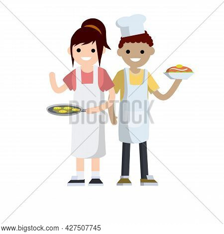 Woman In White Apron Holding Frying Pan With Pancakes. Man Preparing Delicious Breakfast. Housewife