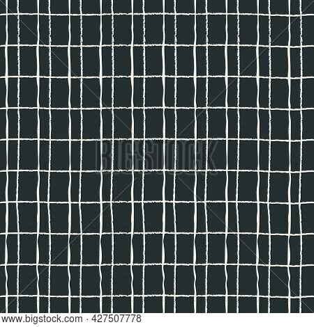 Seamless Plaid Pattern With Double Hand Drawn White Grid On Black Background