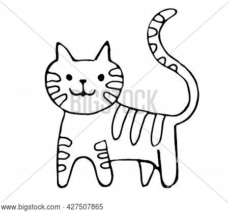 Cats Drawn With A Black Outline, Isolated On A White Background. Kittens In The Doodle Style