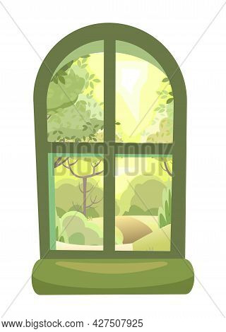 Arch Window. Round Top Rectangular Frame. With A Windowsill. Summer Landscape View. Day. Isolated Ob