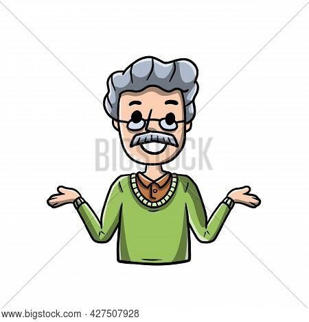 Old Man With Spread Hands. Smiling Senior In Shirt. Doubt And Timidity. Hand Drawn Sketch Cartoon. U