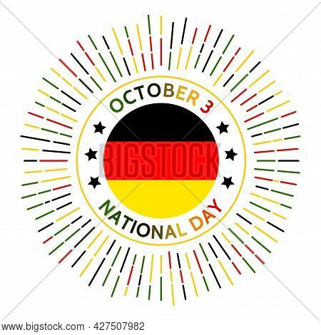 Germany National Day Badge. Federal Republic Of Germany And The Democratic Republic Of Germany Unite