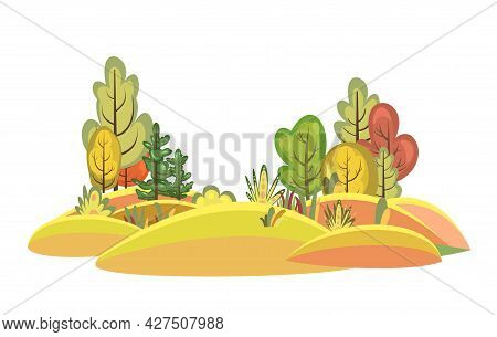 Flat Autumn Forest. Beautiful Landscape With Trees. Illustration In A Simple Symbolic Style. A Funny