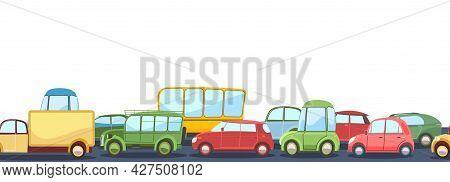 Seamless Horizontal Heavy Traffic On Asphalt Road. Cartoon Illustration. Different Cars In Comic Sty