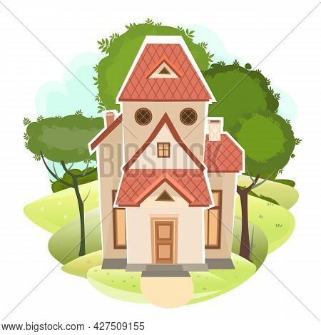Cartoon House In The Meadow. Trees. Cozy Rustic Dwelling In A Traditional European Style. Rural Land