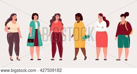 Chubby Girl Isolated Set. Plus Size Young Women In Fashion Clothes. Vector Illustration Body Positiv