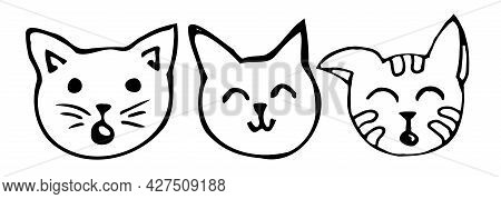 A Set Of Cat Faces Drawn With A Black Outline, Isolated Kittens On A White Background In The Doodle