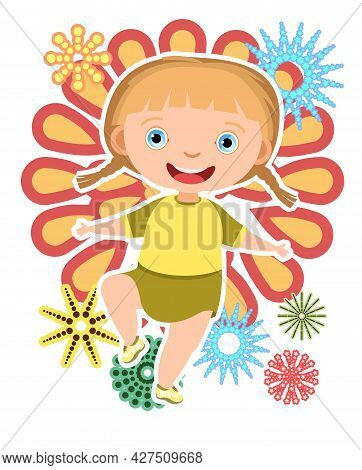 Child With Salute. Little Girl. In Yellow Clothes. Fireworks At Birthday Party. Kid Is Jumping For J