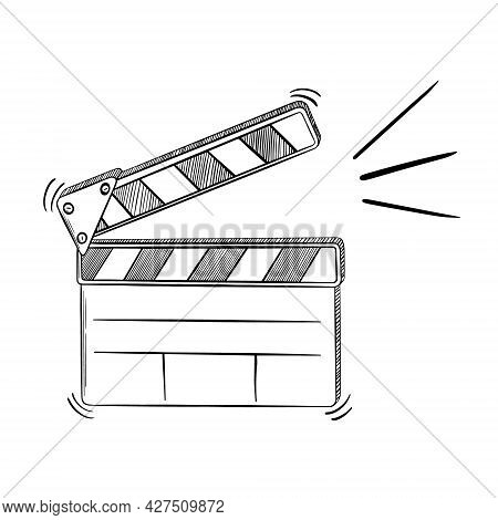 Filmmaking Clapper Sketch. Black Hand Drawn Object On White Background. Vector Illustration.