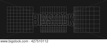 Set Of Retrofuturistic Grid. Digital Cyber Retro Design Elements. Collection Of Grids In Cyberpunk 8