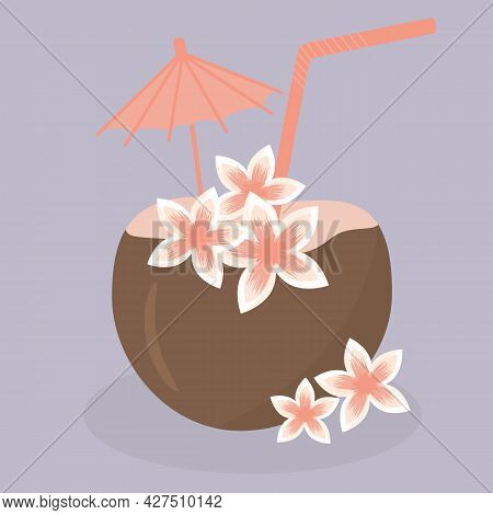 Exotic Coconut Cocktail Decorated With Umbrella, Straw And Tropical Flowers. Nut Drink, Paradise Vac