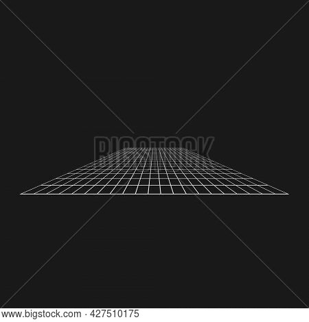 Retrofuturistic Perspective Grid. Digital Cyber Retro Design Element. Grid In Cyberpunk 80s Style. P