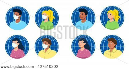 Portraits Of People Of Four Different Ethnicities With And Without Medical Surgical Masks, Each On T