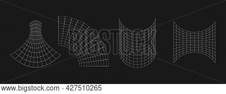 Set Of Retrofuturistic Geometric Grids. Cyber Design Elements. Collection Of Grids In Cyberpunk 80s