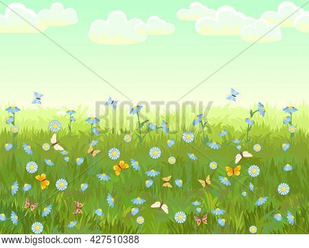 Meadow With Wildflowers And Butterflies. Seamless Illustration. Grass Close-up. Green Landscape. Sum