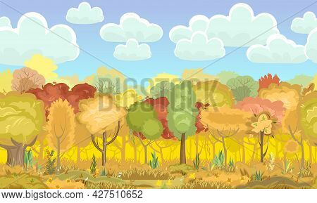 Autumn Forest. Green, Yellow And Red Plants. Seamless. Edge With Grass. Glade And Meadow. Beautiful