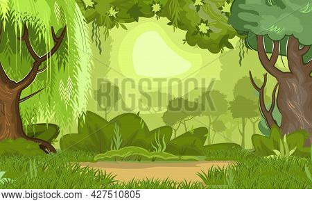 Summer Forest Landscape. Dense Foliage, Shrubs And A Clearing At The Edge. Light Foggy Thickets. Nat