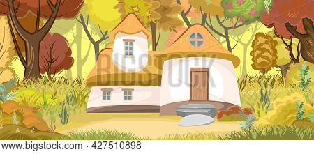 Fabulous Funny House In Clearing. Forest Meadow Landscape. Dwelling Of Gnome. Autumn, Beautiful Cart