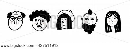 Set Of Human Faces Expressing Positive Emotions. Human Faces With Wide Smiles. Set Of Cheerful Peopl