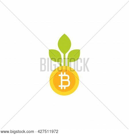 Bitcoin With Green Leaves. Vector Icon. Income Growth Flat Icon. Isolated On White. Economy, Finance